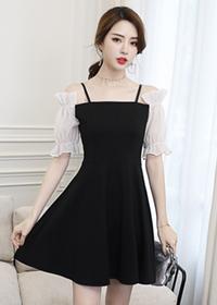 5155#【实拍现货】2018夏装新款灯笼袖吊带收腰A字小黑裙