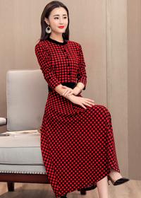 实拍# 2018新款女装春装韩版时尚长款印花格子修身收腰长袖连衣裙