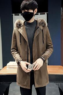 冬季新款鹿皮绒加厚保暖中长款连帽羽绒服精品外套男Y8026 P435