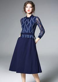 实拍现货9503#2018春装新款欧美时尚修身收腰长袖蕾丝A字连衣裙