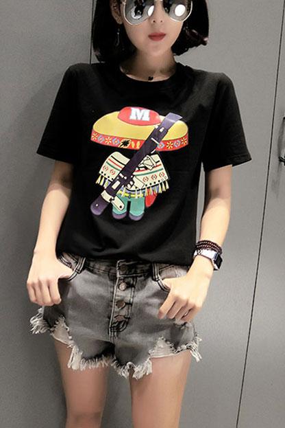 809(实拍)纯棉卡通图案短袖T恤女(纯棉95棉5氨纶)
