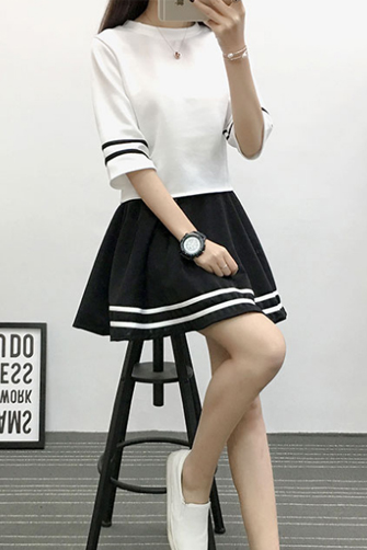 实拍 夏季小清新款韩版连衣裙女学生两件套套装短裙子 003