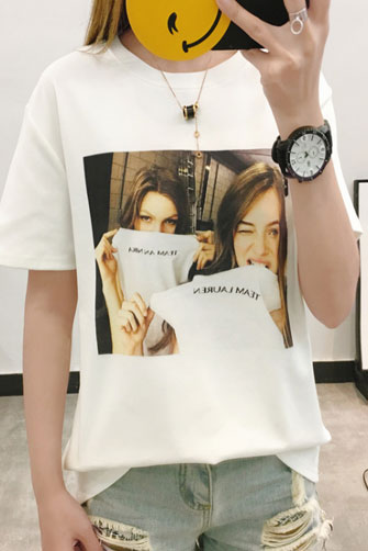 实拍 13个图案 夏季卡通印花人物原宿风短袖T恤女闺蜜装学生上衣