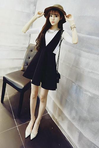 夏季蓬蓬裙收腰背带裙背心短裙套装韩版连衣裙两件套001