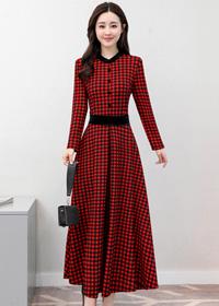 实拍8330#2018春装新款韩版长款印花格子收腰气质长袖连衣裙
