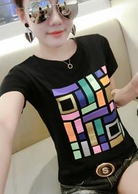 186欧洲站2018春夏季新款女装韩版修身印花上衣白色纯棉短袖T恤女