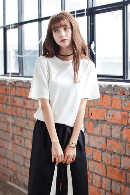 夏季韩版中袖简约宽松纯色圆领百搭短袖t恤女已出货543
