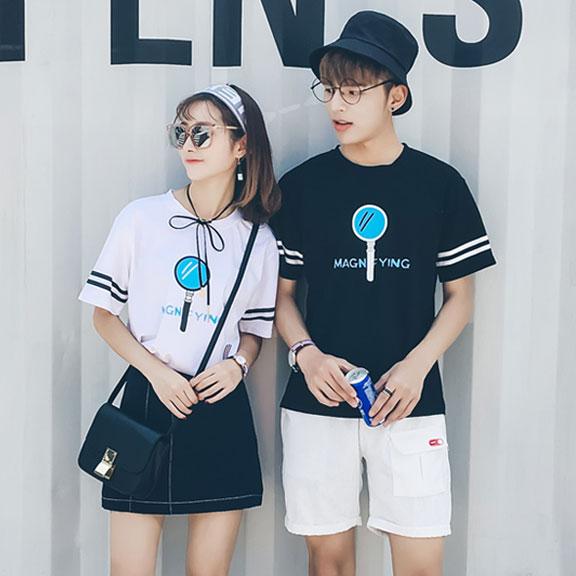 7738#实拍 新款夏季韩版宽松放大镜短袖t恤女情侣装男女学生班服