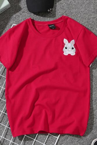 实拍8080#夏季卡通可爱刺绣小兔子短袖情侣装圆领百搭T恤女宽松潮