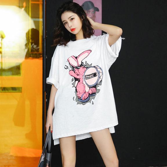 新款粉色潮牌T恤女短袖欧美BF风卡通宽松中长袖打底衫原宿风