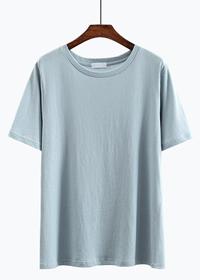528#(实拍)圆领纯棉2018夏装纯色短袖T恤女 (100棉)