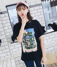 655#实拍 2018夏季新款韩版印花短袖t恤女时尚打底上衣学生体恤