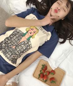 (现货)5061【模特实拍】韩版图案印花直筒休闲T恤短袖上衣女