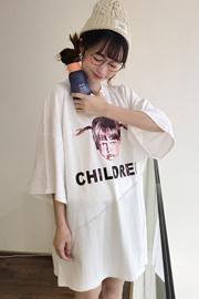 原宿风中长款女孩印花宽松短袖T恤1310#实拍