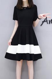 足码250G2018夏季新款女装韩版大码黑白拼接中长款时尚A字连衣裙