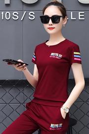 953#实拍【6535棉】夏新款韩版显瘦学生服大码短袖七分裤两件套女