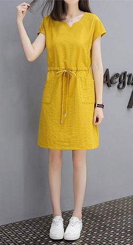 638# 【量大价优】夏季女装韩版V领裙子抽带宽松显瘦棉麻连衣裙