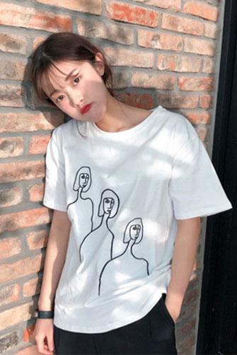 春夏女装2018新款韩版宽松简约短袖套头T恤学生中袖打底衫上衣潮