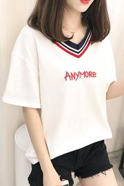 360#实拍(已出货)纯棉新款V领刺绣字母短袖T恤女(95棉 5氨纶)