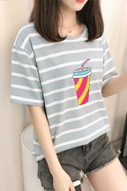 027#实拍(已出货)印花短袖条纹t恤女打底衫(纯棉95棉 5氨纶)