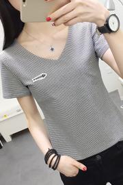 821#实拍(出货)纯棉修身V领条纹短袖t恤女 S-XXL(95棉5氨纶)