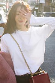 180克双磨2018春秋冬白色体恤女长袖宽松t恤女打底衫