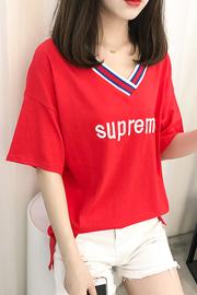 361#实拍(已出货)纯棉新款V领刺绣字母短袖T恤女(95棉 5氨纶)