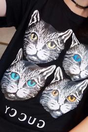 (实拍)8566#2018春夏季新款四个猫头印花短袖T恤女学生