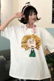 8579#(实拍)卡通可爱学院风中长款短袖T恤学生打底衫上衣潮