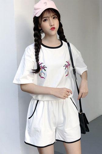 2018新款短袖套装(直贡呢布料) 1269# 实拍 已出货有视频