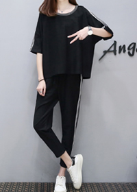 033#现货欧洲站夏女装新款休闲运动套装韩时尚中袖宽松显瘦两件套