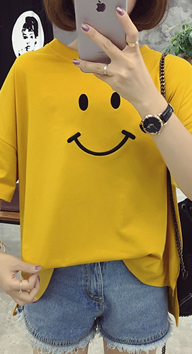3323# 夏装宽松笑脸绣花圆领五分袖T恤女 上衣【CVC精梳拉架棉】