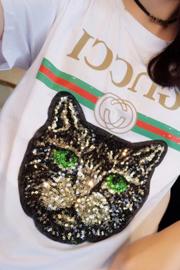 (实拍)8575#短袖T恤女亮片猫头网红同款(6535棉面料)