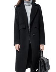 韩版羊绒呢妮子大衣女 中长款加厚收腰 显瘦春装毛呢外套修身百搭